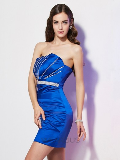 Sheath/Column Strapless Sleeveless Satin Beading Short/Mini Dresses