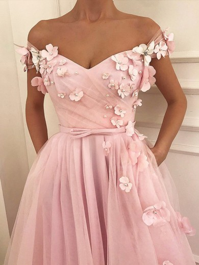A-Line/Princess Off-the-Shoulder Sleeveless Tulle Floor-Length Applique Dresses