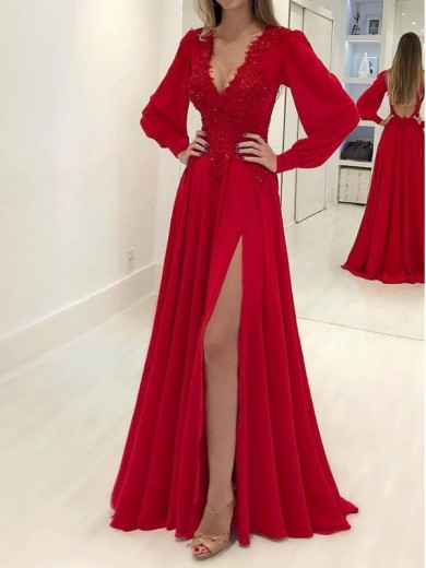 A-Line/Princess V-neck Long Sleeves Applique Chiffon Sweep/Brush Train Dresses