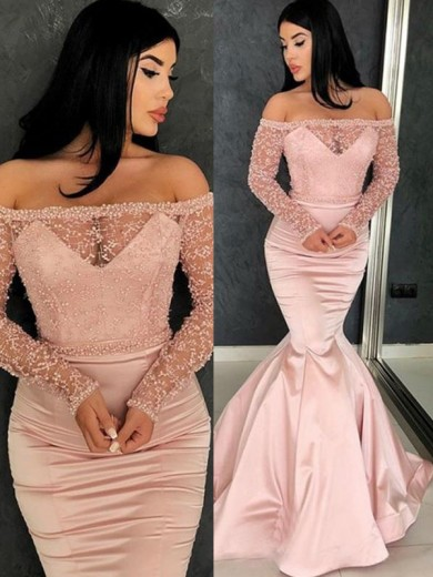 Sweep/Brush Train Trumpet/Mermaid Off-the-Shoulder Long Sleeves Satin Dresses with Ruffles