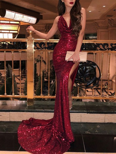 Burgundy Sweep/Brush Train Trumpet/Mermaid V-neck Sleeveless Sequins Dresses with Ruffles