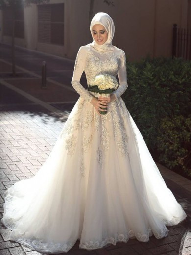 Ball Gown Jewel Long Sleeves Tulle Sweep/Brush Train Applique Wedding Dresses