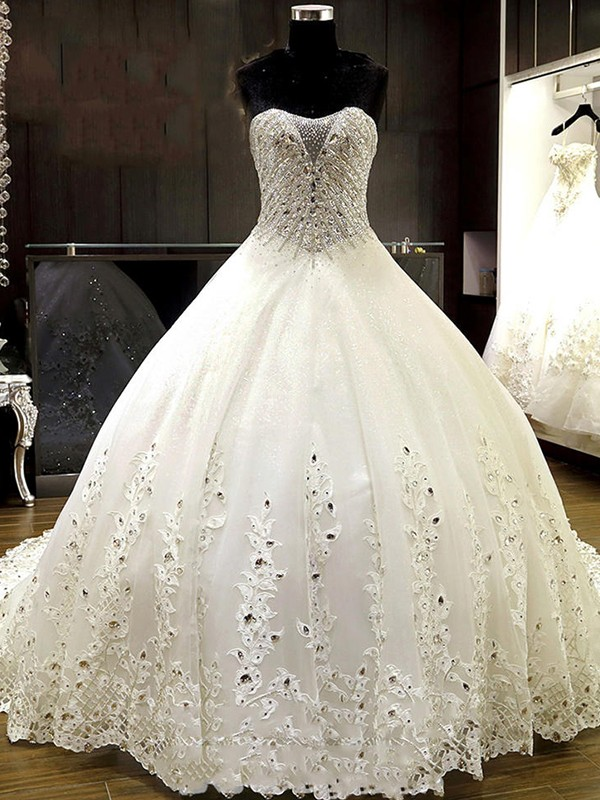 Ball Gown Sweetheart Tulle Sleeveless Cathedral Train Rhinestone Wedding Dresses