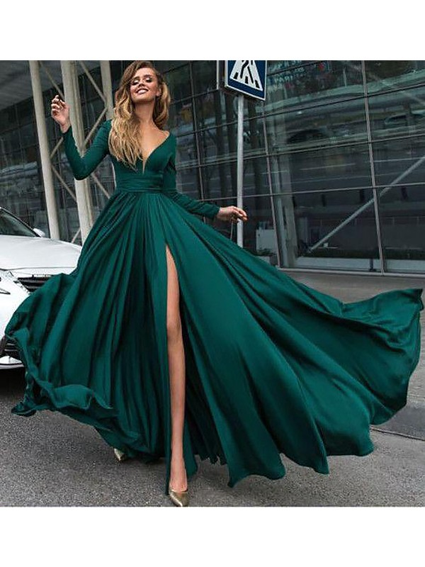 Floor-Length A-Line/Princess V-Neck Long Sleeves Satin Chiffon Ruffles Dresses