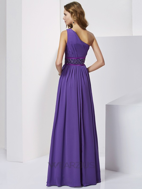 Empire Sleeveless One-Shoulder Chiffon Beading Floor-Length Dresses