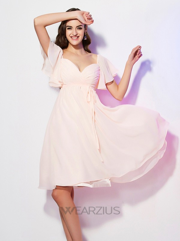 Sheath/Column Sweetheart Short Sleeves Chiffon Ruffles Bridesmaid Dresses