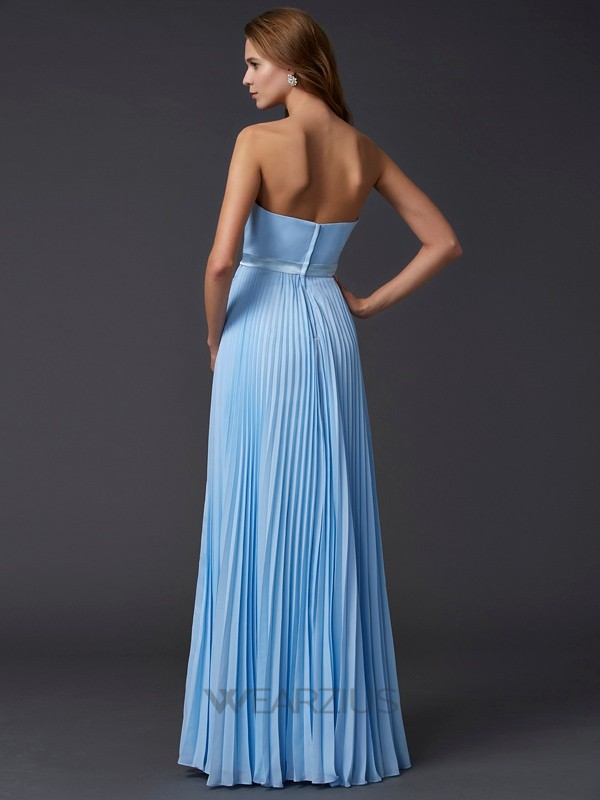 A-Line/Princess Strapless Sleeveless Ruched Chiffon Floor-Length Dresses
