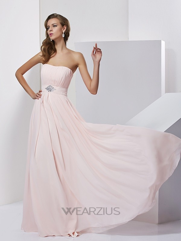 A-Line/Princess Sleeveless Strapless Chiffon Floor-Length Dresses