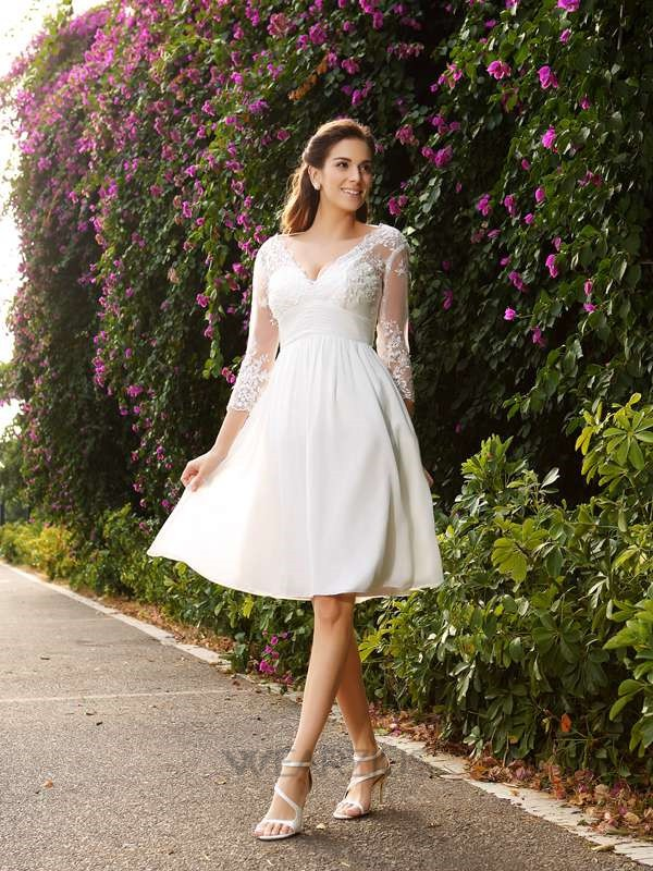 A-Line/Princess Knee-length V-neck Chiffon 3/4 Sleeves  Wedding Dresses with Lace