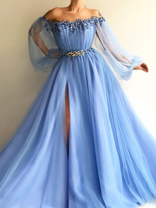 Floor-Length A-Line/Princess Off-the-Shoulder Long Sleeves Tulle Beading Dresses