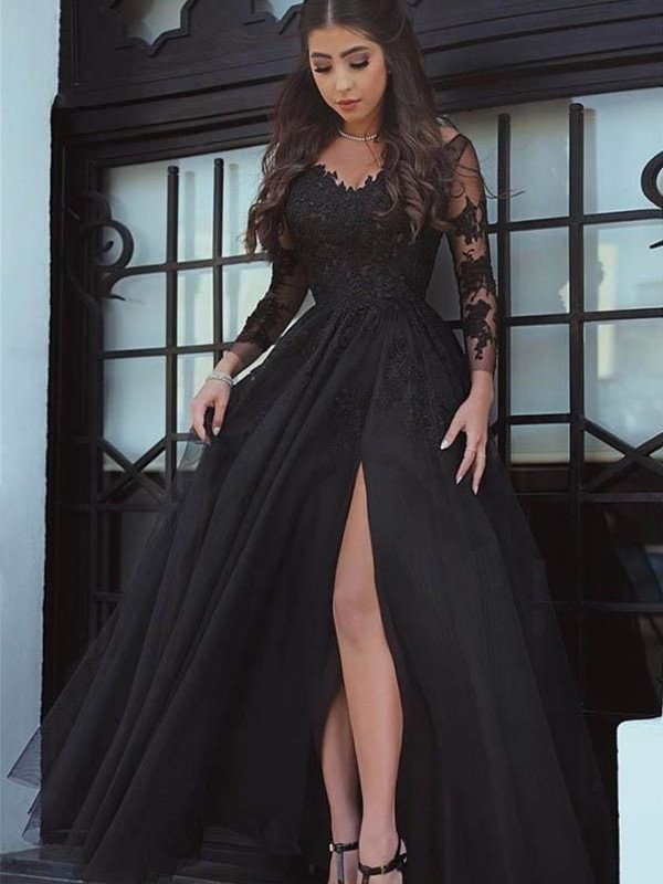 Floor-Length Ball Gown Off-the-Shoulder Long Sleeves Lace Applique Dresses