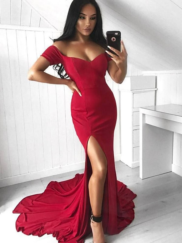 Trumpet/Mermaid Off-the-Shoulder Sleeveless Ruffles Elastic Woven Satin Court Train Dresses