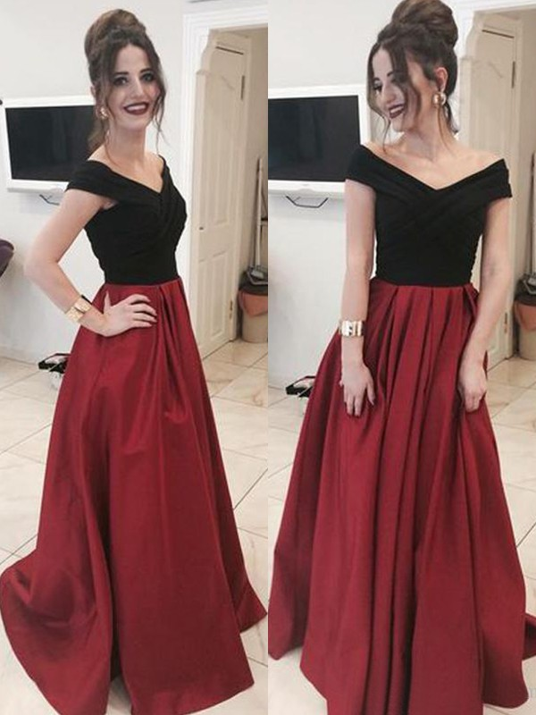 A-Line/Princess Off-the-Shoulder Sleeveless Floor-Length Ruffles Satin Dresses