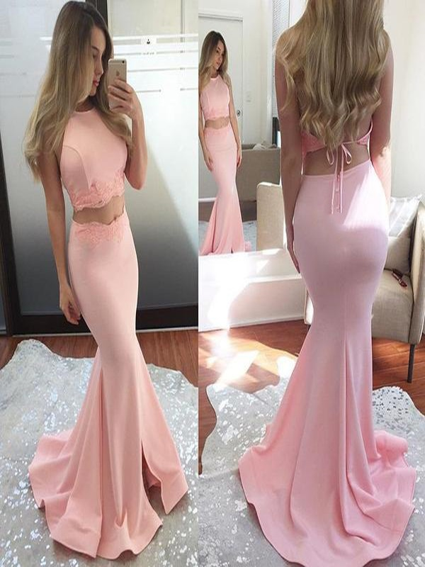 Trumpet/Mermaid Halter Sleeveless Applique Elastic Woven Satin Sweep/Brush Train Two Piece Dresses