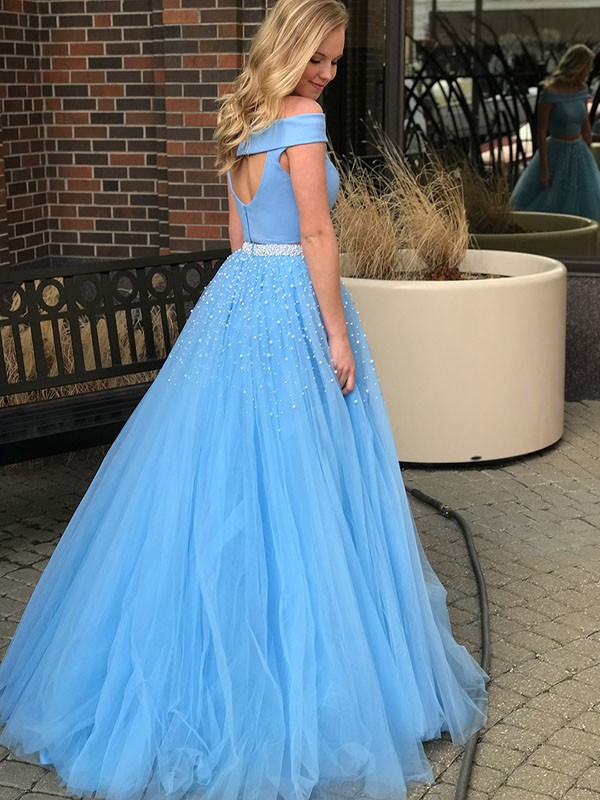 A-Line/Princess Off-the-Shoulder Sleeveless Beading Tulle Sweep/Brush Train Two Piece Dresses