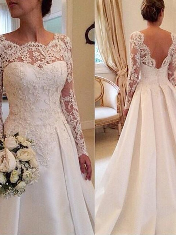 Court Train Ball Gown Scoop Long Sleeves Lace Satin Wedding Dresses