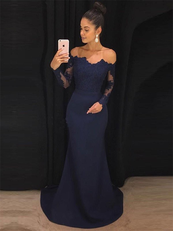 Sweep/Brush Train Trumpet/Mermaid Off-the-Shoulder Lace Satin Long Sleeves Dresses