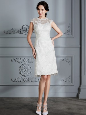 A-Line/Princess Sleeveless Scoop Satin Lace Knee-Length Wedding Dresses