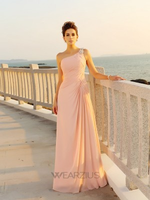 A-Line/Princess One-Shoulder Beading Sleeveless Chiffon Floor-Length Dresses