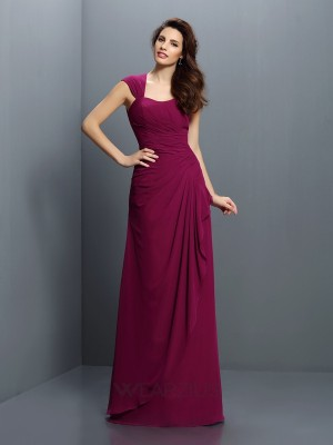 A-Line/Princess Straps Sleeveless Pleats Chiffon Floor-Length Bridesmaid Dresses