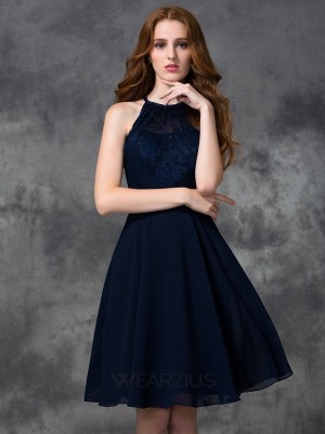 A-line/Princess Sleeveless Chiffon Halter Lace Knee-length Bridesmaid Dresses