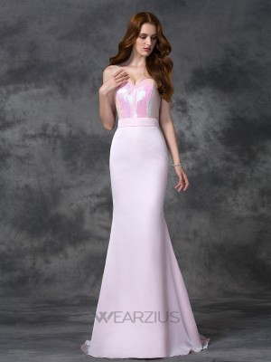 Trumpet/Mermaid Sweetheart Beading Sleeveless Satin Chiffon Floor-length Bridesmaid Dresses