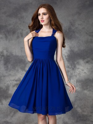 A-line/Princess Straps Sleeveless Ruffles Chiffon Short/Mini Bridesmaid Dresses