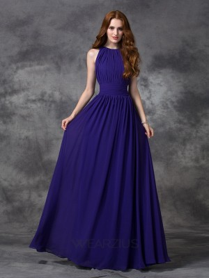 A-line/Princess Jewel Chiffon Sleeveless Ruched Floor-length Bridesmaid Dresses