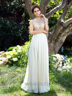 A-Line/Princess Short Sleeves Sheer Neck Rhinestone Chiffon Sweep/Brush Train Dresses