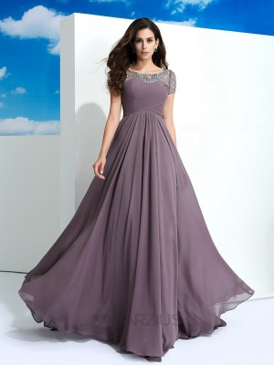 A-Line/Princess Sheer Neck Short Sleeves Beading Floor-Length Chiffon Dresses
