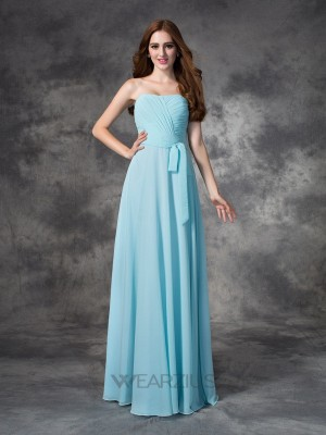 A-line/Princess Strapless Sleeveless Chiffon Ruched Floor-length Bridesmaid Dresses