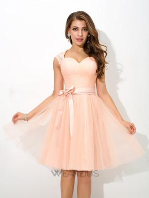 A-Line/Princess Straps Sleeveless Sash/Ribbon/Belt Short/Mini Net Bridesmaid Dresses