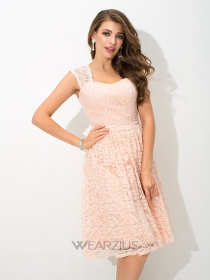 A-Line/Princess Straps Sleeveless Knee-Length Lace Bridesmaid Dresses