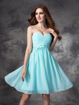 A-line/Princess Sweetheart Sleeveless Ruffles Chiffon Short/Mini Bridesmaid Dresses