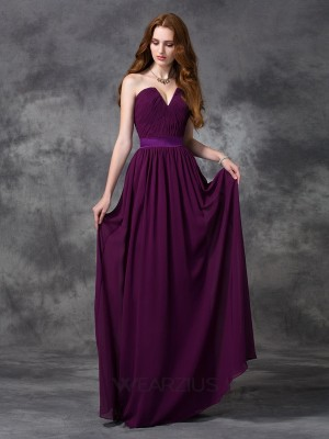 A-line/Princess Sweetheart Chiffon Sleeveless Ruched Floor-length Bridesmaid Dresses