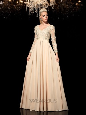 A-Line/Princess V-neck Long Sleeves Applique Chiffon Floor-Length Dresses