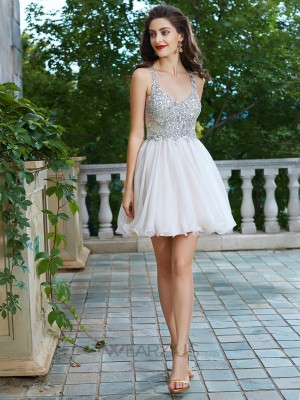 A-Line/Princess Straps Sleeveless Chiffon Rhinestone Short/Mini Dresses