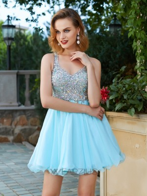 A-Line/Princess Sleeveless Rhinestone Chiffon Straps Short/Mini Dresses