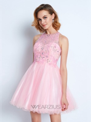 A-line/Princess Jewel Sleeveless Ruffles Short/Mini Net Dresses