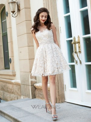 A-Line/Princess Sweetheart Sleeveless Rhinestone Lace Short/Mini Dresses