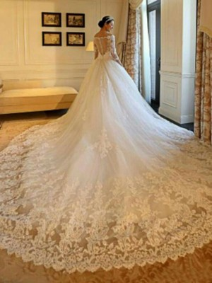 Ball Gown Off-the-Shoulder Tulle 3/4 Sleeves Beading Applique Cathedral Train Wedding Dresses