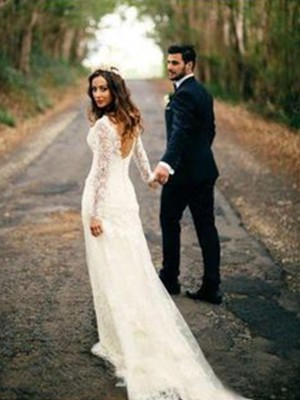 Sheath/Column V-neck Long Sleeves Lace Applique Court Train Wedding Dresses