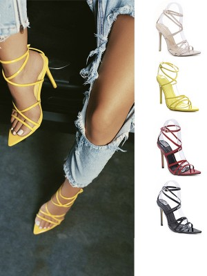 Buckle Peep Toe Patent Leather Stiletto Heel Sandals For Women