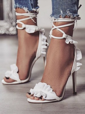 Lace Up Peep Toe PU Stiletto Heel Sandals For Women