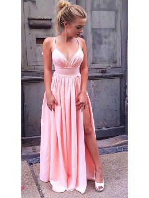 A-Line/Princess Sleeveless Straps Chiffon Floor-Length Ruched Dresses