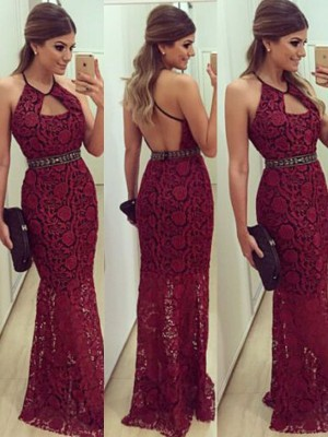 Sheath/Column Sleeveless Halter Lace Beading Floor-Length Dresses
