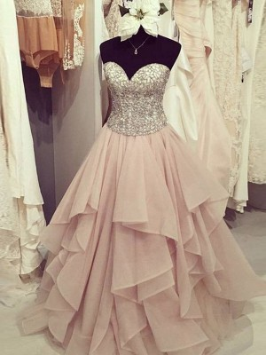 A-Line/Princess Sweetheart Chiffon Sleeveless Floor-Length Beading Dresses