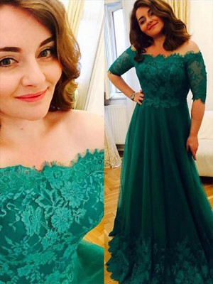 A-Line/Princess Off-the-Shoulder Short Sleeves Tulle Applique Floor-Length Plus Size Dresses