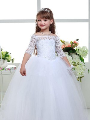 Ball Gown Off-the-Shoulder 1/2 Sleeves Lace Tulle Floor-Length Flower Girl Dresses