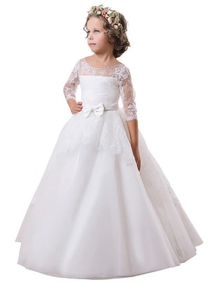 Ball Gown Jewel Long Sleeves Lace Satin Sweep/Brush Train Flower Girl Dresses